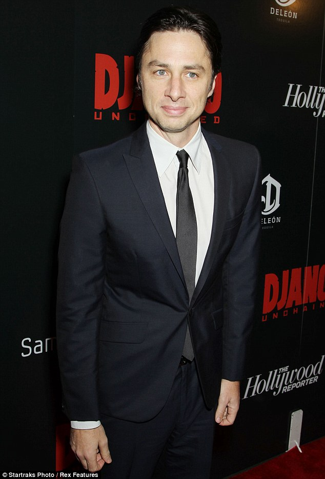 Handsome: Zach Braff scrubbed up well in a navy suit