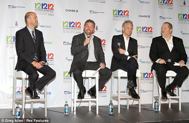 Behind the curtain: David Saltzman, James Dolan, John Sykes and Harvey Weinstein discuss putting on the show at a press conference before the acts took the stage on Wednesday