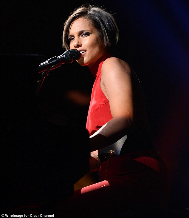 Impassioned: Alicia Keys took the stage for a heartfelt performance