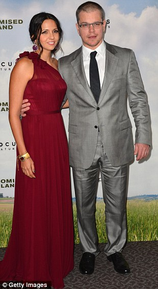 Marital bliss: Damon said he is 'shi**y' at spicing up the romance in his relationship with wife Luciana