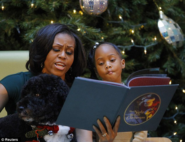 Bored Bo: The first dog did not appear to have much interest in the beloved Christmas story