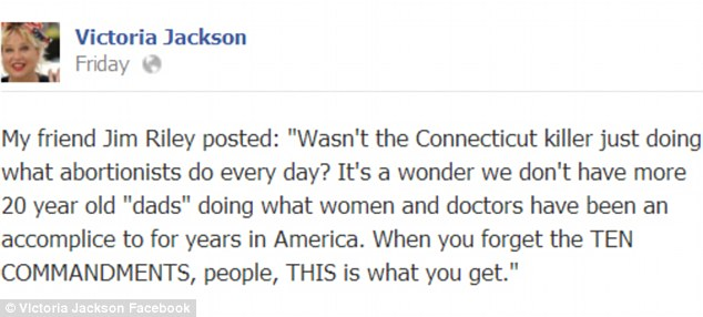 Comedian turned political commentator Victoria Jackson has caused outrage by apparently comparing the tragedy at Sandy Hook Elementary School with abortion