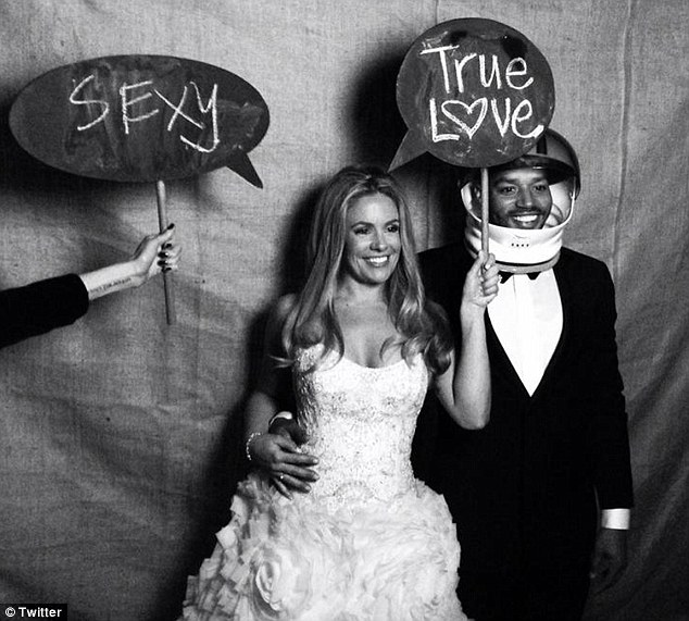 True love: The couple looked far more glamorous as they posed for photographs at their wedding