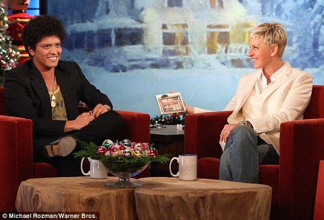 Popular guest: Bruno makes frequent visits to Ellen's show