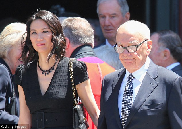 Outside: Rupert Murdoch and his wife Wendi Deng leave after attending Dame Elisabeth Murdoch's funeral
