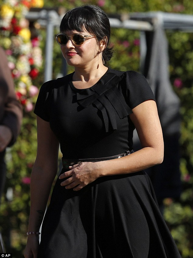 Grief: Nora Jones attended a memorial service for her father, Indian Sitar maestro Ravi Shankar, in California on Thursday