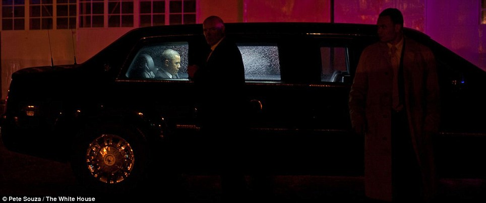 The president waits to board Marine One at the Westchester County Airport in New York
