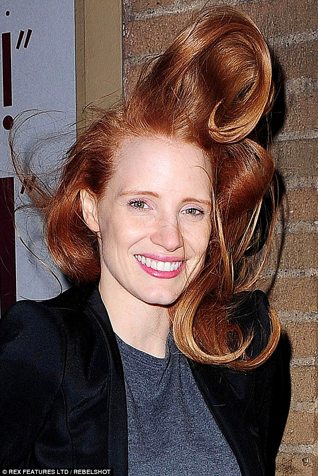 Jessica Chastains Hair Goes Mile High As She Gets Caught
