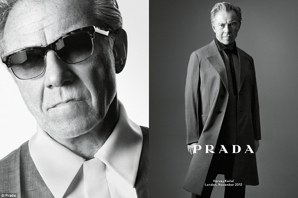 Leading men: Harvey Keitel, pictured, fronts the new Prada menswear campaign alongside Benicio Del Toro, Aaron Taylor-Johnson and Dane DeHaan