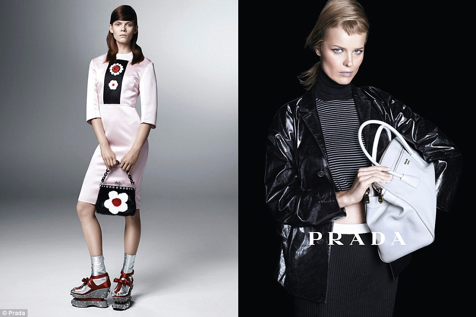 Supermodels: Eva Herzigova, right, who recently announced her third pregnancy, stars in Prada's new spring/summer 2013 campaign
