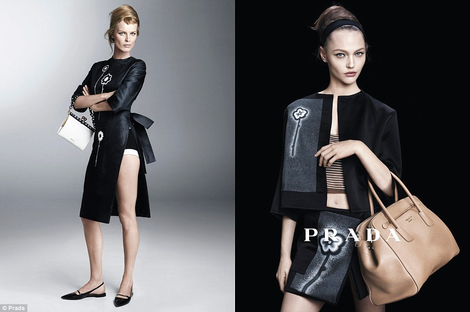 Mother-to-be: Eva Herzigova, left, has just announced her third pregnancy, but is still finding time to earn a living in front of the camera for Prada