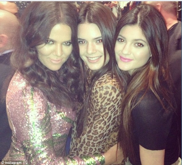All the girls: Backstage Khloe took a quick snap of her younger half sister Kyle and Kendall Jenner for Instragram purposes