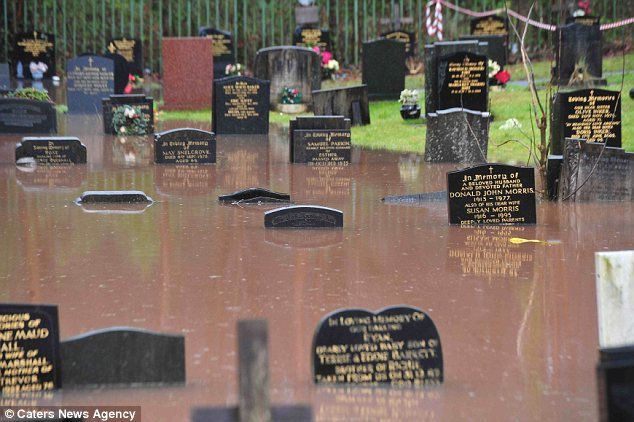Grave concerns: There are concerns for the graves at St Woolos Cemetery, in Newport, Gwent, where many of the gravestones submerged and a large area of the site was covered in water