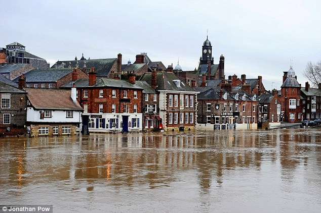 The River Ouse through York once again broke its banks today after heavy rainfall