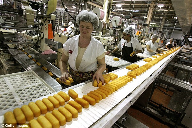 Factory line: Workers prepare Hostess Twinkies for packaging at the Interstate Bakeries Corporation facility in Illinois