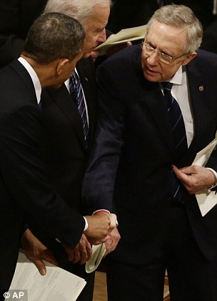 Speaker of the House John Boehner, (left) and Senate Majority Leader Harry Reid (right with the president) must compromise together along with President Obama on the looming 'fiscal cliff'