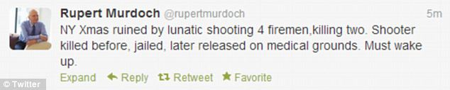 Calling out inaction: Murdoch cited the Christmas Eve shooting in Westbury, New York during his Tweet