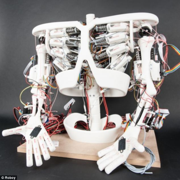 The team is already developing parts of the Roboy, such as its skeleton like chest which houses spring-like artificial tendons