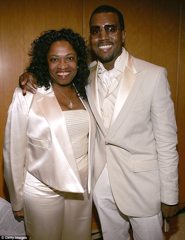Still mourning: His mother Donda West tragically perished at the age of 58 from complications during cosmetic surgery in 2007, and last month he took Kim to Oklahoma City to visit her grave