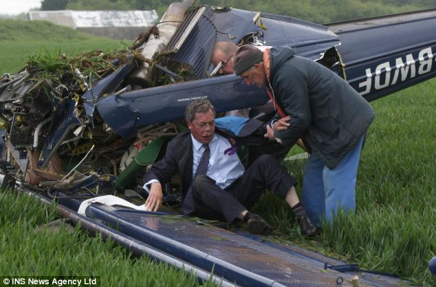 Brush with death: Mr Farage survived a plane crash while contesting the 2010 General Election