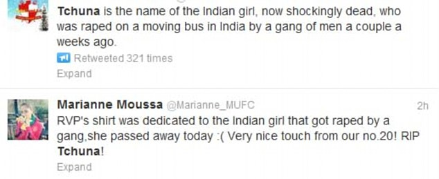 I know: Some users are adamant that van Persie's tribute was for the tragic Indian woman who was raped and died from her injuries