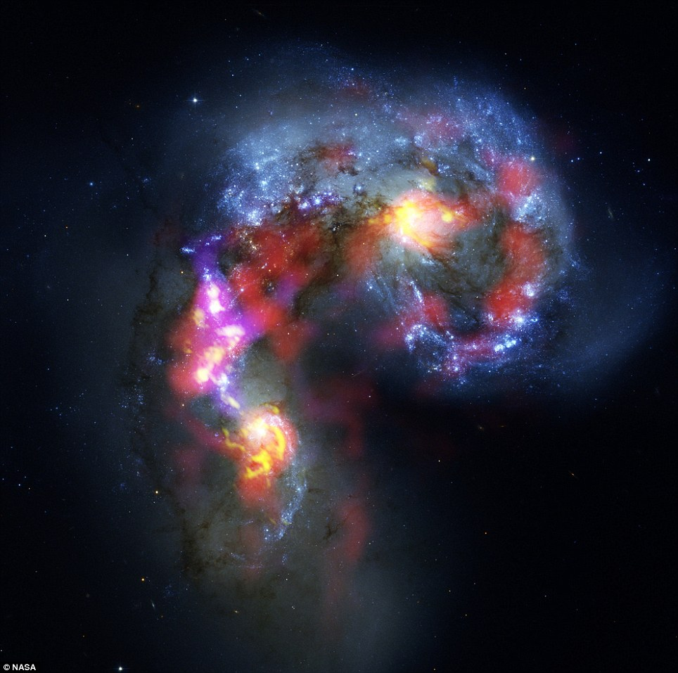 The Crow: Antennae Galaxies are a pair of distorted colliding spiral galaxies about 70 million light-years away, in the constellation of Corvus (The Crow)