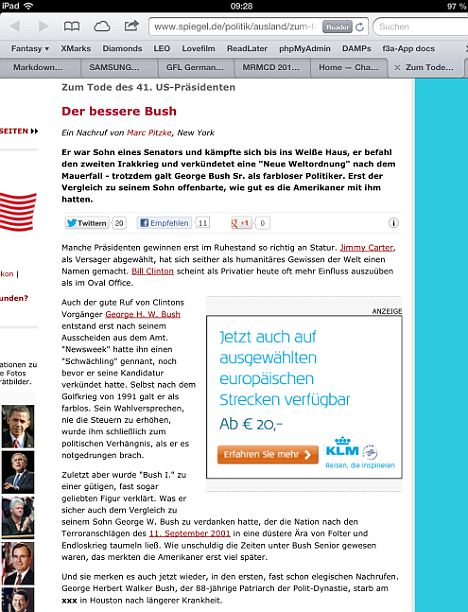The obituary was taken down within minutes as Bush continues to recover