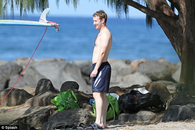 Aloha! Mark Zuckerberg works on his tan in a pair of board shorts during a trip to Hawaii this Christmas