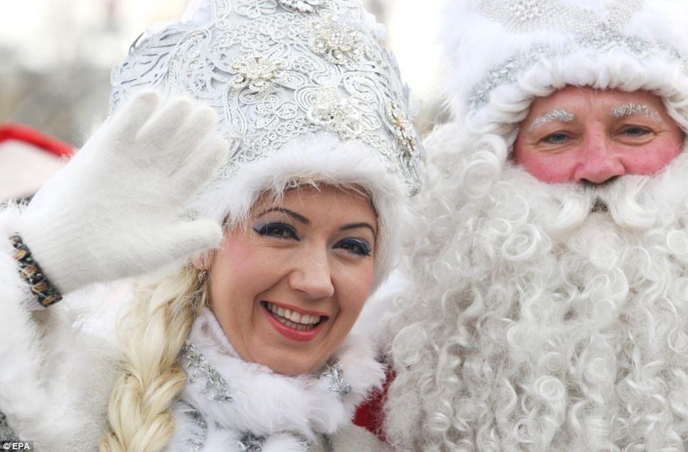 Father Frost, pictured here in Bishkek, Kyrgyzstan, is the Slavic culture equivalent of Santa Claus