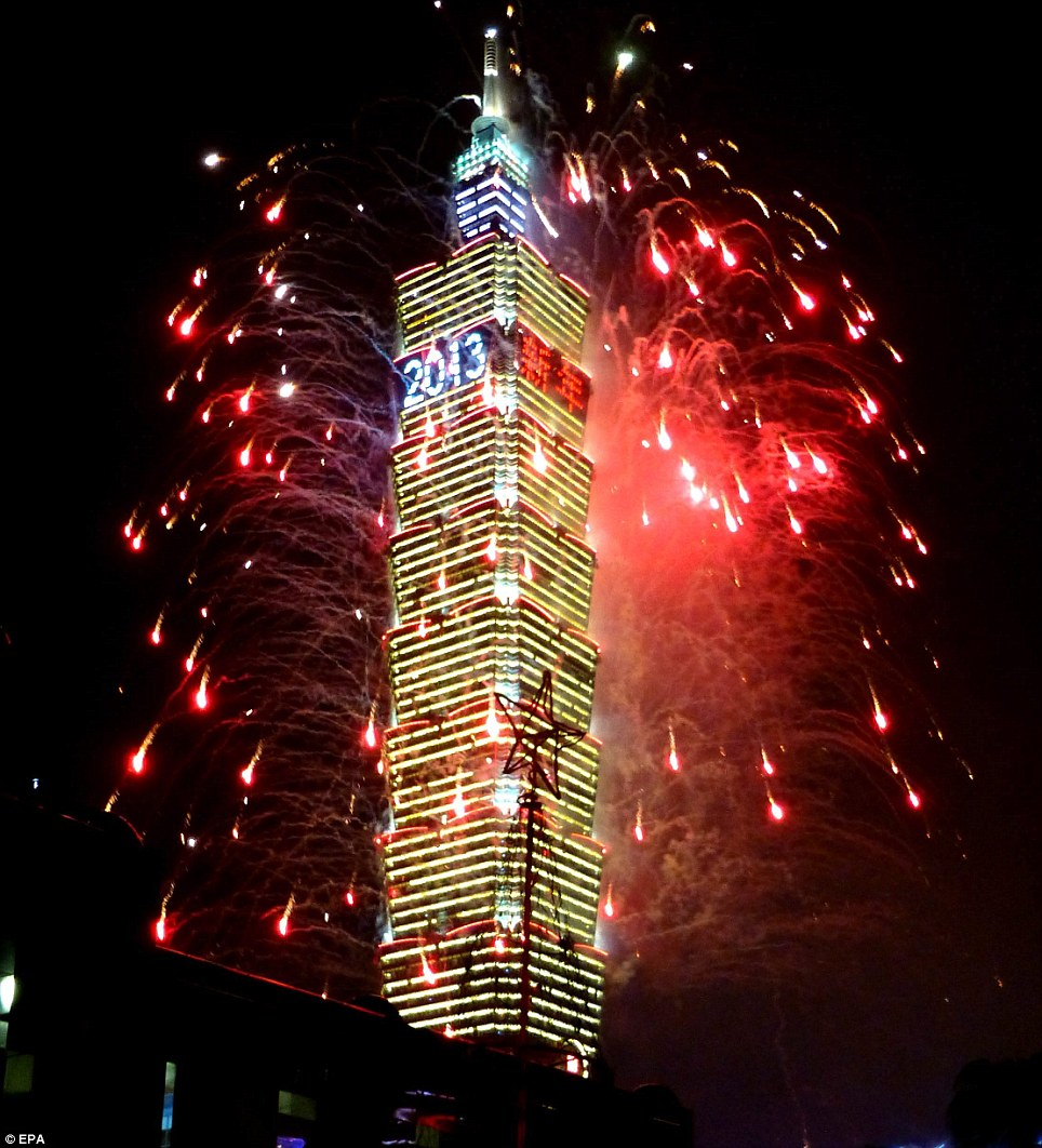 Thrilling: Taiwan welcomes in the New Year with a fireworks display on the Taipei 101 skyscraper in Taipei