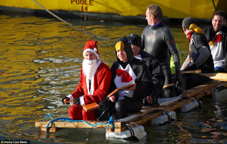 New Years Day Bath Race at Poole Quay, Dorset