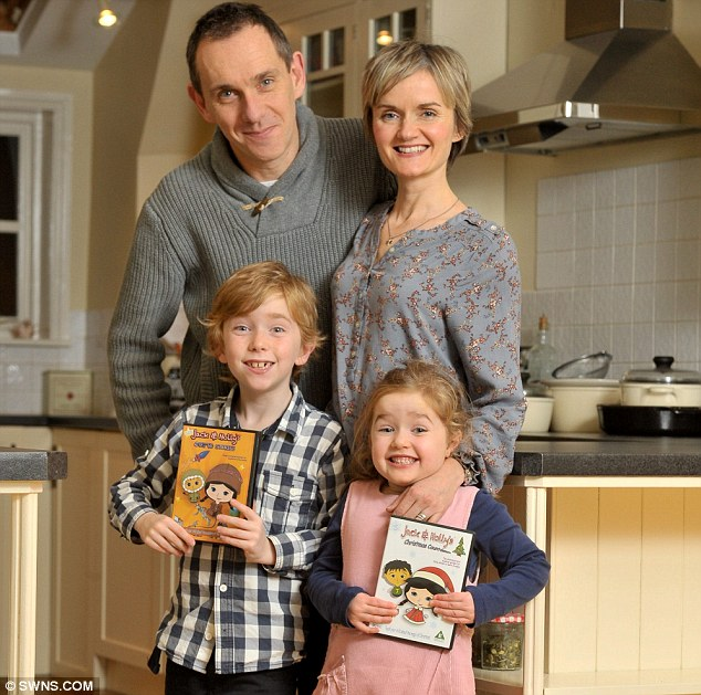Family affair: Jez Wright and Julianne Martin were sick of their children Cillian and Beth watching nonsense TV that they created animation Jack and Holly