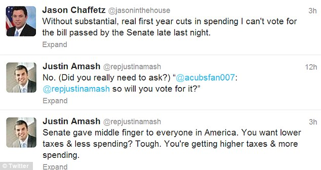 Opposition: At least two Republican Congressmen have tweeted that they will vote against the vill