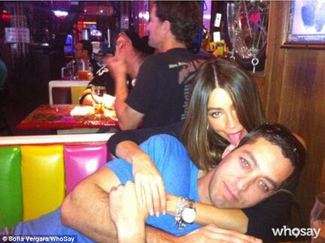 'Lunch time!' After their New Year's 'scuffle,' Sofia Vergara was all smiles with her fiancé Nick Loeb Tuesday, posting a Twitter snap of herself licking the businessman