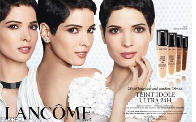 Success: Hanaa ben Abdesslem in her most recent campaign for French beauty brand, Lancôme