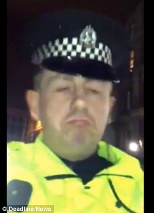 A clip filmed in Glasgow shows a man's mobile knocked to the ground and apparently smashed by a Strathclyde officer