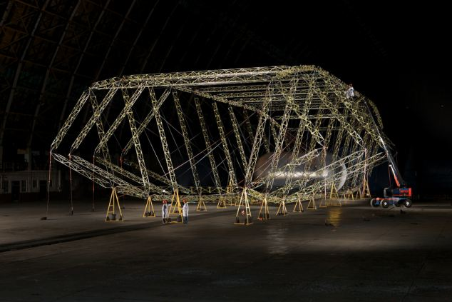 The 'skeleton' of the airship being built in California