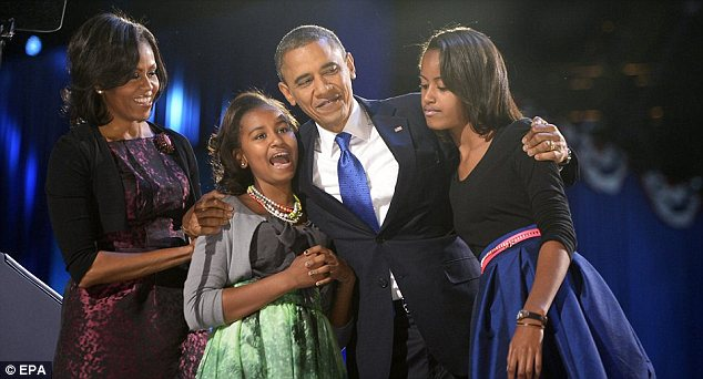 Victory: Obama, pictured with the first family on Election night, will be inaugurated for his second term privately on January 20, with a public ceremony to follow the next day