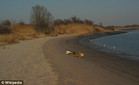 Grim discovery: The woman's body was found on a beach at Marine Park in Brooklyn, New York