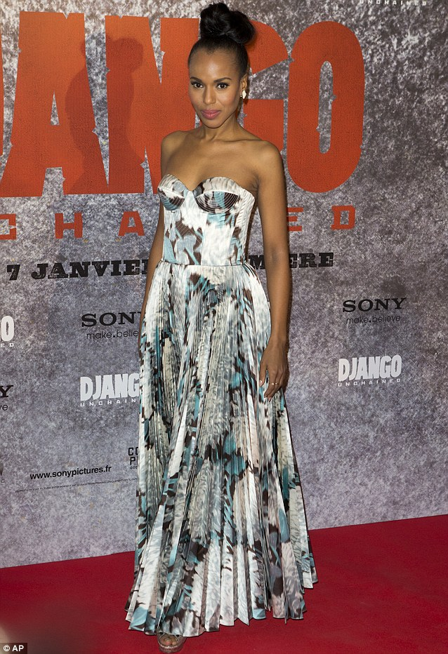 Red carpet star: American actress Kerry Washington looked great at the Paris premiere of the movie Django Unchained