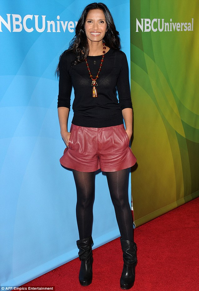 Fabulous figure: Padma Lakshmi wore a sheer top and shorts at the NBC Universal TCA Press Tour in Los Angeles, California