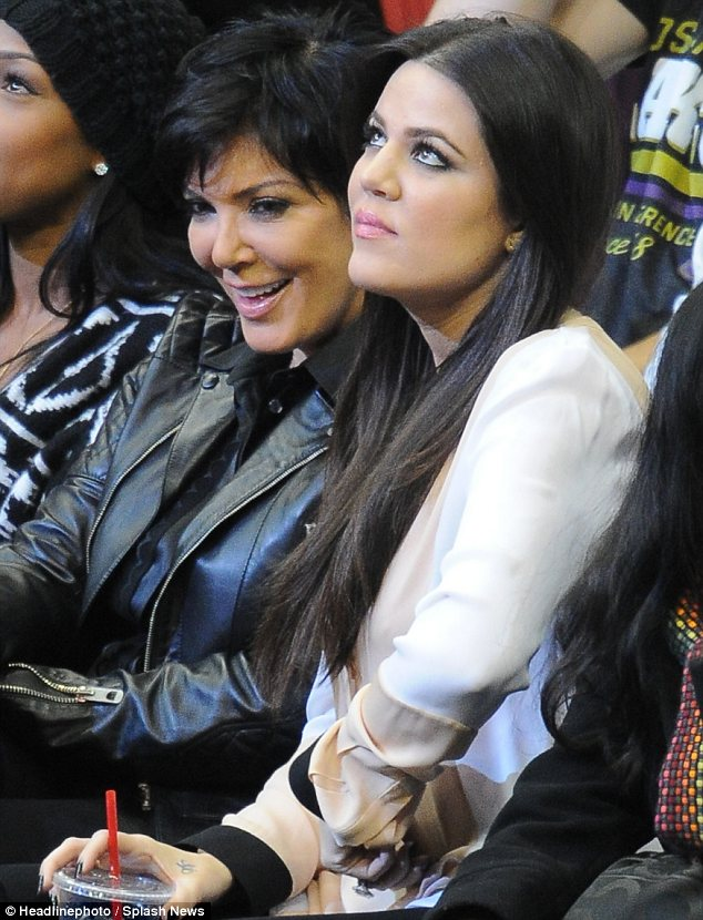 Mother and daughter duo: Khloe was seen with Kris Jenner at the Lakers vs Clippers game in Los Angeles on Saturday