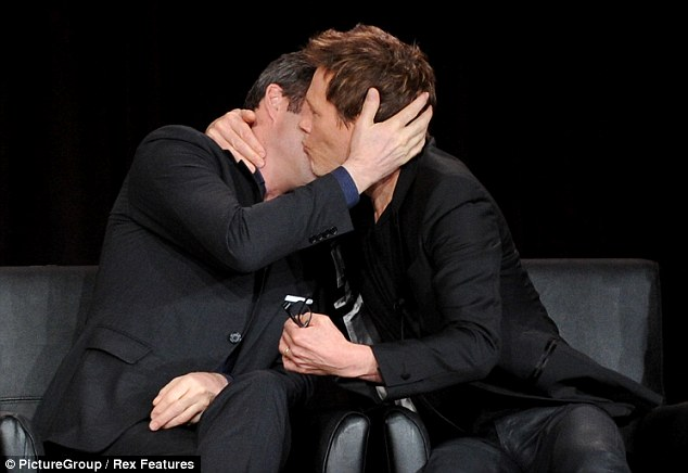 Bromantic: Kevin Bacon and James Purefoy were also at the event and shared a manly kiss