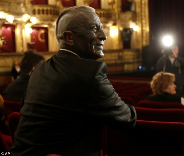 Double figures: Vladimir Franz, seen smiling prior to a rehearsal of his opera 'War with the Newts' at the State Opera in Prague, Czech Republic yesterday, is predicted 11 per cent in the first round of voting this weekend