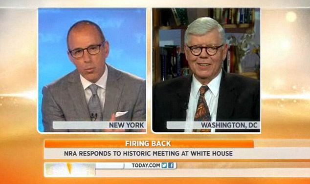 Agreement: NRA President David Keene told Matt Lauer on the Today Show that he also didn't believe an assault rifle ban would get through Congress
