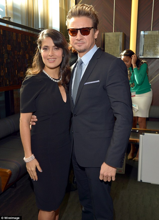 Celebrity emcees: Renner and Hayek were at the event, which precedes the IFC televised ceremony happening February 23, to annouce the winners of several filmmaking grants