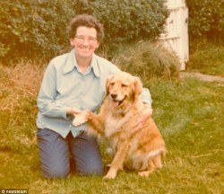 Devoted: Lynda Hill, seen posing with one of her previous golden retrievers in her younger days, would have been 'devastated' by the shelter's actions, friend say