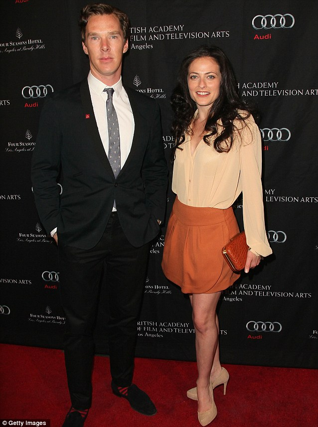 Supersleuth: Sherlock star Benedict Cumberbatch arrived at the bash with his series co-star Lara Pulver who played Irene Adler in one episode
