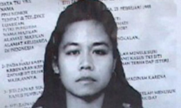 Death row: Siti Zainab has been sentenced to death for stabbing her female employer to death in 1999