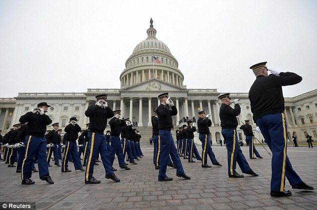 Preparation: Members of the military band practice during the dress rehearsal